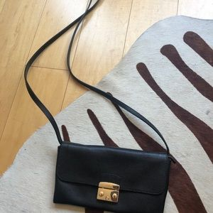 FURLA BLACK cross Body with gold clasp